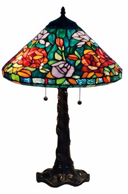 Tiffany-style Roses Design Table Lamp 24 Inches Tall