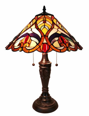 SignatureThings.com Brass Hardware Victorian Tiffany Style Table Lamp 24 Inches Tall