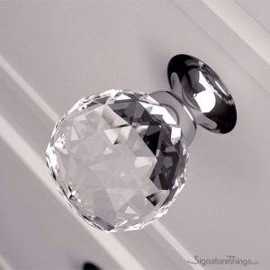 Rounded Diamond Cut Crystal Drawer Knob