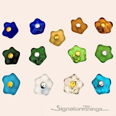 Crystal Flower Knobs on Brass Base | Crystal Cabinet Hardware | Crystal Cabinet Knob | decorative cabinet knobs | Glass Drawer Knobs | Cabinet Pulls and Knobs |  Glass Cabinet Knob | SignatureThings.com
