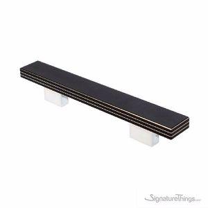 Black Laminate with Aluminum Pinstripes & Chrome Base Handles