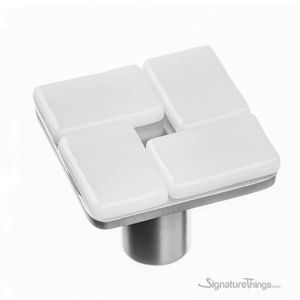 SignatureThings.com Brass Hardware Sietto Geometric white mosaic on square Knobs