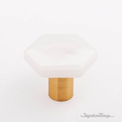 SignatureThings.com Brass Hardware Sietto Hexagon knobs and Pulls