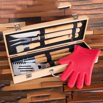SignatureThings.com Brass Hardware Personalized BBQ Set in Bamboo Case