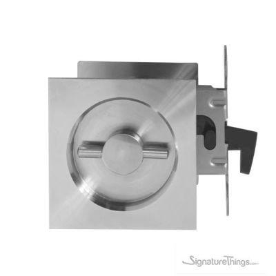 Stainless Steel KUBE Pocket Door Pull with Lock