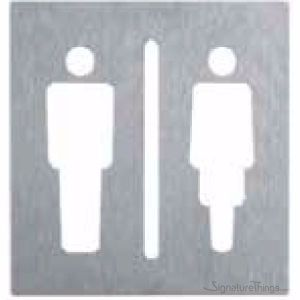 Male Figure Restroom Sign | Female Figure Restroom Sign | Women Restroom Sign | Women Toilet Sign | Ladies Restroom Sign | Women Washroom Signage | Decorative Restroom Sign | Modern Restroom Signage | Brass Restroom Sign | Brass Hardware | SignatureThings.com
