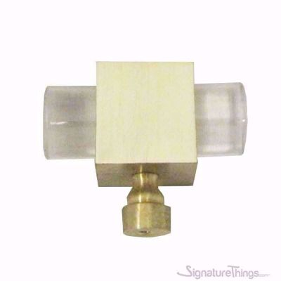 """SignatureThings.com Brass Hardware Modern Cube and Crown Lucite Cabinet Pulls - 3/4"""" Dia"""