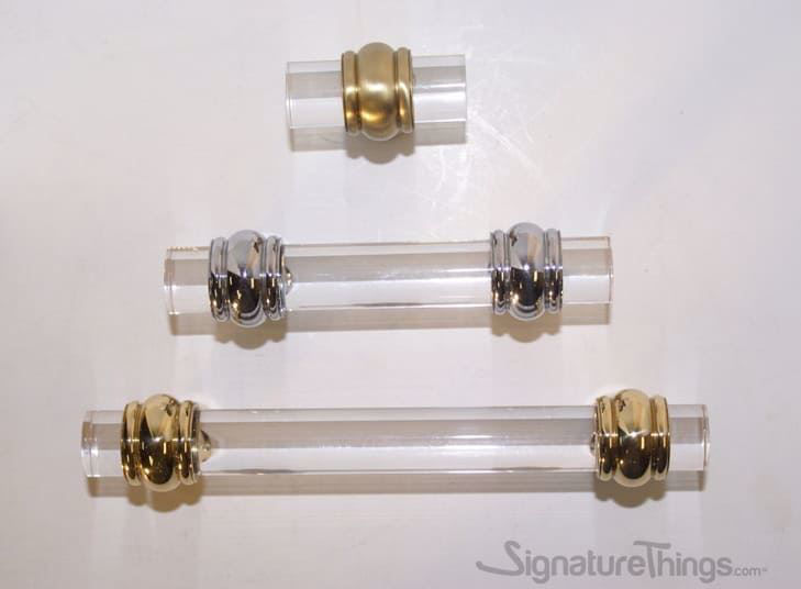Classic Double Ring Appliance Lucite Handles - 3/4