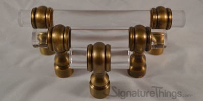"Classic Double Ring Appliance Lucite Handles - 3/4"" D 