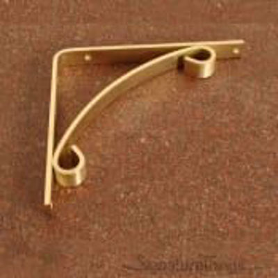 Arch Accented L Bracket - Brass Shelf Brackets, Heavy Duty Brass Brackets, Floating Shelve Brackets