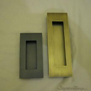 Brass Rectangular Flush Door Pulls - Sliding Door Flush Pulls, Pocket Door Pulls