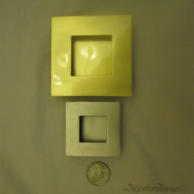 "Brass Square Flush Door Pulls - 2""& 3"" OD"