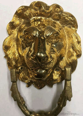 SignatureThings.com Brass Hardware Lion Head Door Knocker