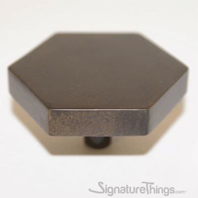 "Solid Brass - 3/8"" D Hexagon Shaped Cabinet Knobs - Drawer Pulls"