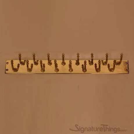 "Acorn Double Row Brass Hook Bar -  2"" W, Vintage Coat Racks, Wall Mounted Hook Rack with 10,16 and 20 Hooks. Custom Brass Finishes & Sizes."