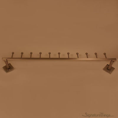 Traditional Single Row Tie Rack - Wall Mounted Coat Racks with 9, 11 and 15 Hooks. Available in Custom Brass Finished.