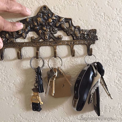 Wall Mounted Key Holder - 6 Hook,  Brass Key Rack | Key Hanger | Victorian Brass Key Holder | Brass Key Hook | Vintage Key Holder | Vintage Key Rack | Wall mounted Key Rack | Decorative Key Holder | Key Organizers | Brass Hardware | SignatureThings.com
