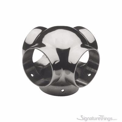 "SignatureThings.com Brass Hardware Ball Outlet Cross for 1-1/2"" Diameter Tubing"