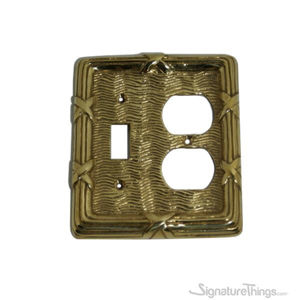 Combo Toggle Switch / Duplex Cover Plate - Reed and Ribbon Combination