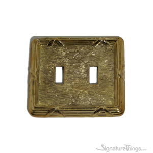 Double toggle switch plate - Reed and Ribbon Double - Brass Switch Plates | Classic Switch Plates | Vintage Switch Plates | Light Switch Covers | Decorative Wall Switch Plates | Combination Wall Plates | Vintage Light Switch Covers | Antique Brass Switch Cover Plate |