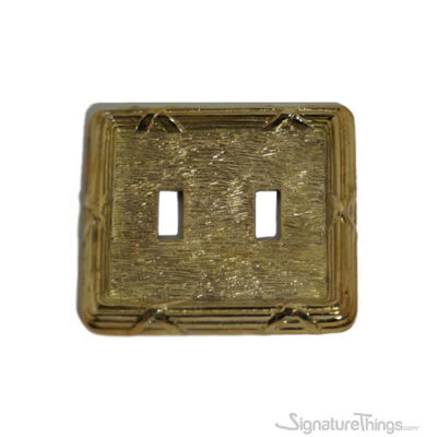 SignatureThings.com Brass Hardware Double toggle switch plate - Reed and Ribbon Double