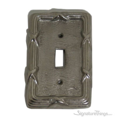 SignatureThings.com Brass Hardware Single toggle switch plate - Reed and Ribbon Single
