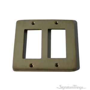 Modern Rounded Corners Decora - Double gang cover plate - Brass Switch Plates | Modern Switch Plates | Decorative Wall Switch Plates | Light Switch Covers | Modern Wall Plates | Combination Wall Plates | Single Duplex Cover Plates |