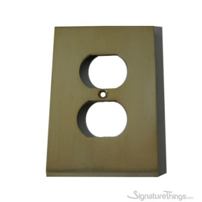 Modern Switch Plate (Receptacle) - Single duplex cover plate - Brass Switch Plates | Modern Switch Plates | Decorative Wall Switch Plates | Light Switch Covers | Modern Wall Plates | Combination Wall Plates | Single Duplex Cover Plates |