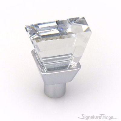 Diamond Cut Crystal Cabinet Knobs With Chrome Base