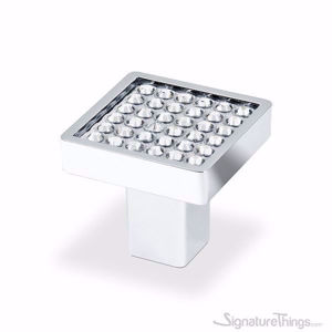 Round Crystal Drawer Knobs with Square Base