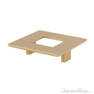 Matte Brass square knob with hole