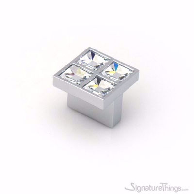 Small Square Crystal Drawer Knob with 4 Crystals