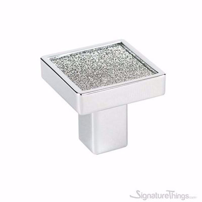 Sparkling Silver Crystal Square Cabinet Knob with Hole
