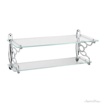 Wall Mounted Double Glass Bath shelf - Heavy Duty Shelf Brackets | Adjustable Shelf Brackets | Brass Shelf Brackets | Decorative Shelf Brackets | Metal Shelf Brackets | Floating Shelf Brackets | Brass L Brackets | L Shelf Brackets | Solid Brass Brackets | Modern Shelf Bracket | Closet Shelf Brackets | Brass Hardware | SignatureThings.com