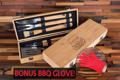 Personalized BBQ Set in Bamboo Case - Family Established Sign | Business Established Sign | Rustic Wood Name Sign | Last Name Signs | Wall Decor Name Sign | Wooden Cabin Sign | Ceremony Sign | Personalized Welcome Sign | Keepsake Box | Wooden Wedding Card Box | Rustic Wedding Card Box | Personalized gift Ideas | Engraved Gift Ideas | Christmas Gift Ideas | Holiday Gifts Ideas | SignatureThings.com