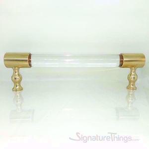 Lucite Door Handle - 3/4 Dia Brass Closed End