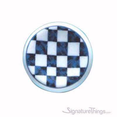 Ceramic Knob - Blue Square Print