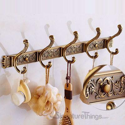 Carving Antique Robe Hooks - Brass Hook Bar | Brass Hook Racks | Coat Hook Rack | Wall Mounted Coat Racks | Decorative Hook Racks | Tie Rack | Solid Brass Hook Racks | Modern Hook Rack | Hat and Coat Hooks | Brass Hooks | Brass Hardware | SignatureThings.com