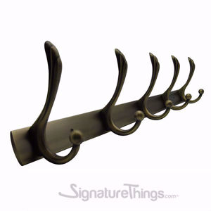 Elegant Robe Hook - Brass Hook Bar | Brass Hook Racks | Coat Hook Rack | Wall Mounted Coat Racks | Decorative Hook Racks | Tie Rack | Solid Brass Hook Racks | Modern Hook Rack | Hat and Coat Hooks | Brass Hooks | Brass Hardware | SignatureThings.com