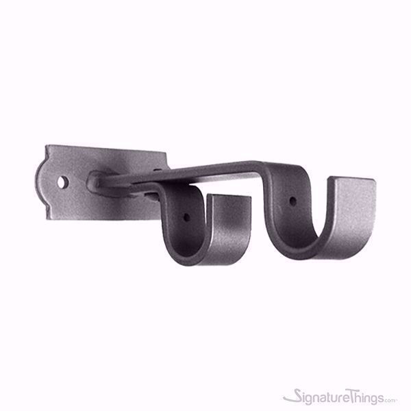 Iron Curtain Rod Center Double Brackets - Deco Backplate, Curtain Rod Support, Closet Rod Brackets