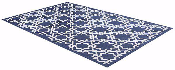 SignatureThings.com Brass Hardware Trellis Tile Rug - All Weather Indoor/Outdoor for Living Room, Bedroom, and Dining Room