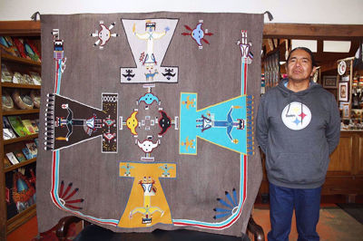 SignatureThings.com Brass Hardware Navajo Sand Painting Rug AB!