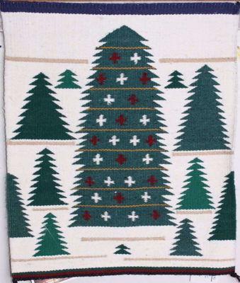 SignatureThings.com Brass Hardware Pictorial Christmas tree Navajo Rug