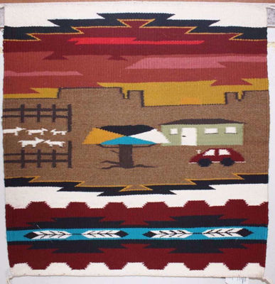 SignatureThings.com Brass Hardware Pictorial Navajo Rug AJ