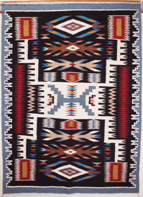 SignatureThings.com Brass Hardware Storm pattern Navajo Rug DK