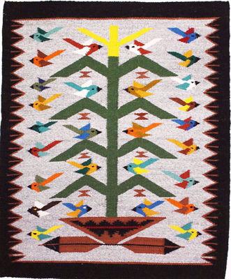 Tree of Life Navajo Rug BB