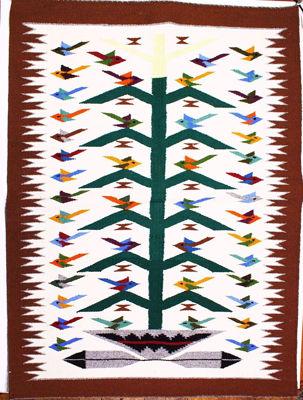 SignatureThings.com Brass Hardware Tree of Life Navajo Rug NB