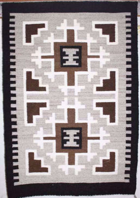 SignatureThings.com Brass Hardware Two Grey Hill Navajo Rug REN
