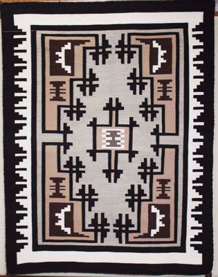 SignatureThings.com Brass Hardware Two Grey Hill Navajo Rug VB