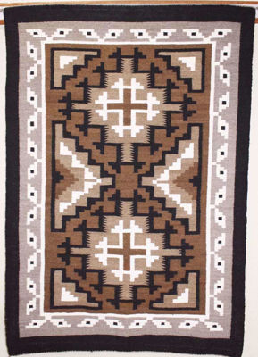 SignatureThings.com Brass Hardware Two Grey Hill Navajo Rug ZB